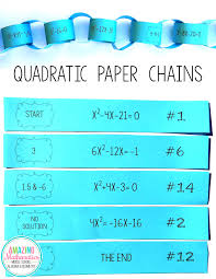 solving quadratic equations paper chain activity algebra fun