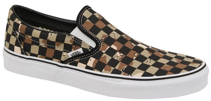 Vans Classic Slip-On (Checkerboard Camo Desert/True White) Skate Shoes-10.5