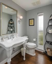 Tiny Powder Room Ideas Round Framed Mirror Plus Charming Pendant Lighting Powder Room