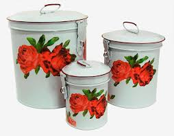 Kitchen Decorative Canisters Amazon Com White Canister Set W French Chic Red Roses Vintage