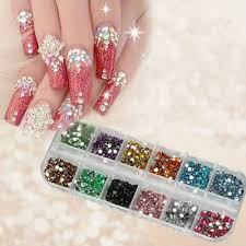 amazon com 1200pcs new nail art rhinestones glitters acrylic