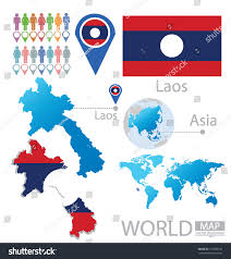 World Map Asia by Laos Flag Asia World Map Vector Stock Vector 151386149 Shutterstock