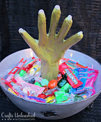 halloween crafts with candy spooky monster hand candy bowl