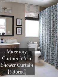 turn any curtain or window drapery panel into a shower curtain