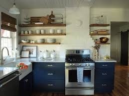 Shelf Kitchen Cabinet Navy Kitchen Cabinets With Open Shelving Organize Pinterest