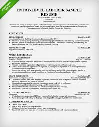 Simple Resume Examples For Students by Entry Level Construction Resume Sample Resume Genius
