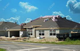 new construction site for concrete block stucco homes stock photo
