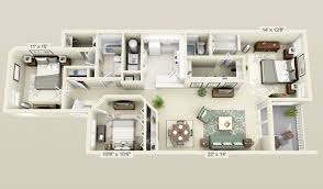 Three  Bedroom ApartmentHouse Plans Roommate Bedrooms - Apartment house plans designs