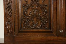 antique oak bookcase with glass doors sold dutch 1920 grapevine carved oak 10 u0027 library bookcase
