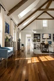 Exposed Beam Ceiling Living Room by Interior Oak Hardwood Flooring With White Upholstery Sofa White