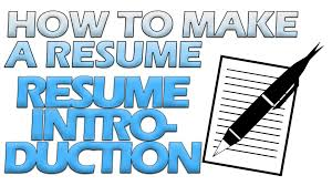 What Is The Profile In A Resume How To Make A Resume Resume Introduction Youtube