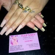 acrylic full set with clear base and yellow opi thin tip yelp