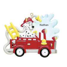 free personalization fire truck with dog ornament the