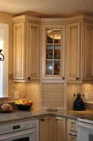 Crown Moldings For Kitchen Cabinets Pretty Pale Brown Color Wooden Corner Kitchen Cabinets Features