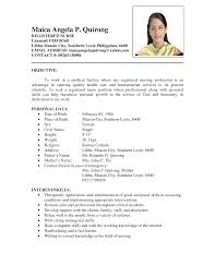 Recent College Graduate Resume Template Sample Nurse Resume Philippines