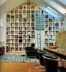 interior breathtaking floor to ceiling attic wall bookshelves