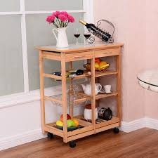 rolling wood kitchen trolley cart island shelf w storage drawers
