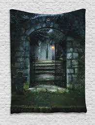 gate of a haunted house halloween scary illustration print wall