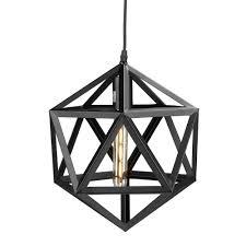 Black Pendant Light by Perdue 1 Light Matte Black Geometric Cage Pendant Lamp Hd88227