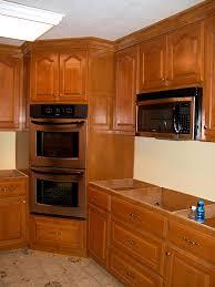 bathroom pleasing corner cabinet for double oven cherry shaker