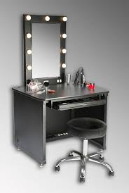 bedroom black makeup table set with lighted mirror plus stainless