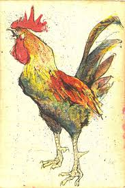 Village Antiques: Fritz Hug - Lithograph of a Rooster - HugRooster