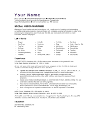 Online Marketing Manager Resume by Social Media Manager Cv Template