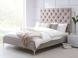 Modern Bedroom Set Dark Wood Bedroom Cozy Grey Fabric Upholstered Bed With White Bed Sheet
