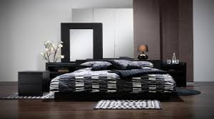 Modern Bedroom Set Dark Wood Black Bed Ikea Zamp Co