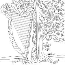 harp coloring page 318 best music coloring pages for adults images on pinterest