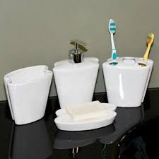 White Bathroom Accessories Set by Butterfly Porcelain Bath Accessories 4 Piece Set White Bathroom