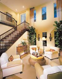 high ceiling vintage yellow and white home interior design with