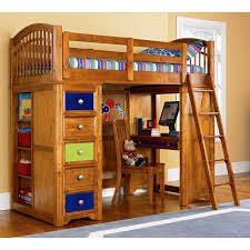 wooden loft bunk bed for kids with desk and storage decofurnish