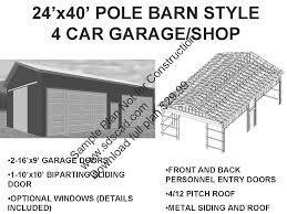 10 Car Garage Plans 63 24 U0027 X 40 U0027 Pole Barn Plans 4 Car Garage Plans Sds Plans
