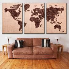 World Map Canvas by Aliexpress Com Buy New 3 Pcs Set Creative Coffee Bean World Map
