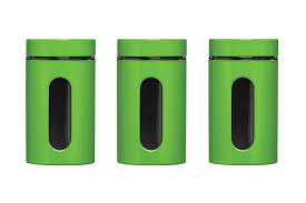 Green Canister Sets Kitchen Premier Housewares Storage Canisters Green Set Of 3 Amazon Co