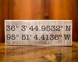 Personalized Signs For Home Decorating Amazon Com Wedding Gift Latitude Longitude Sign Gps Coordinates