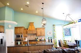 awesome blue kitchen with oak cabinets greenvirals style