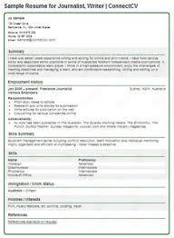 Sample Resume for Journalist  Writer   ConnectCV