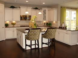 Stove In Kitchen Island Painted White Kitchen Cabinets Two Wooden Bar Stool On The Wooden