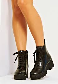 leather biker boots madison faux leather lace up platform biker boot black 4th