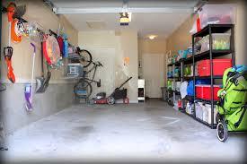 interior traditional garage makeover design with concrete floor