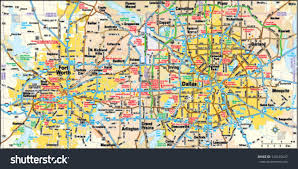 Downtown Dallas Map by Dallas Fort Worth Texas Area Map Stock Vector 144155647 Shutterstock