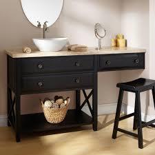 Bathroom Vanity With Makeup Area  Clinton Black Vanity For - Black bathroom vanity with vessel sink