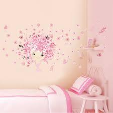 online get cheap girl walls aliexpress com alibaba group flower flower fairy pink cute baby girl mermaid butterfly home decor wall sticker for girls