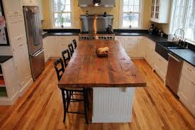 rectangle brown reclaimed wooden butcher block top over white