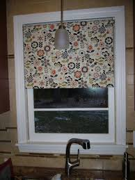 furniture kitchen room with home made floral pattern roller blind