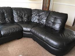 Leather Sofas At Dfs by Dfs Black Leather Corner Sofa Swivel Chair And Footstool In