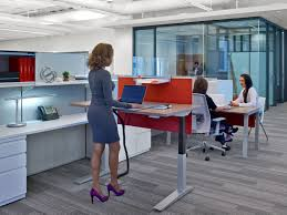 haworth compose workstation with planes height adjustable table