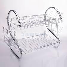 Plastic Dish Drying Rack 2 Tiers Kitchen Dish Cup Drying Rack Holder Metal Dish Mug